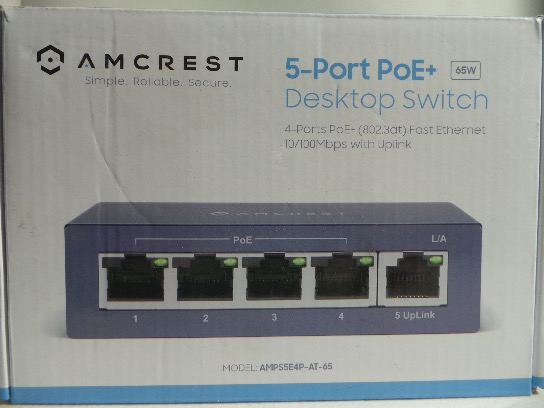 Amcrest, AMPS5E4P-AT-65 5-Port POE Switch Power Over Ethernet, Blue