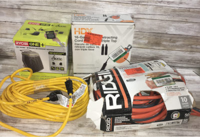 Mixed Lot Of 4 Rigid 50ft Contractor Extension Cord/Ryobi 18v Wireless Secondary Speaker/HDX 16-Gauge Self Cord Reel/ Yellow Jacket 50ft Extension Cord