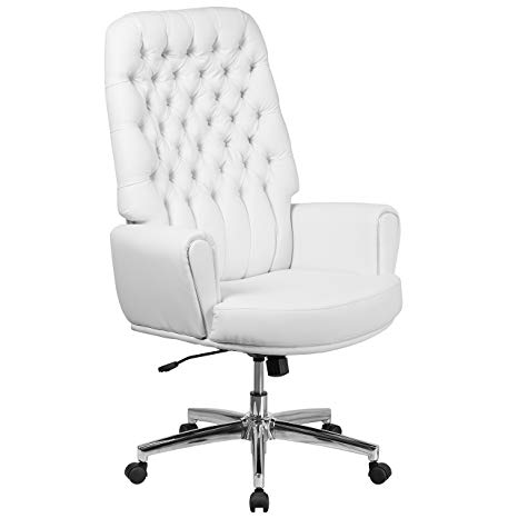 Flash Furniture BT-9029H-WH-GG Tufted Leather Executive Swivel Chair  White