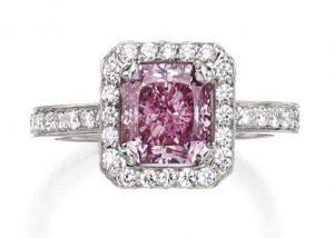 Lot 280 - Platinum, Fancy Intense Purplish Pink Diamond and Diamond Ring