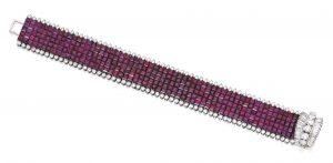 Lot 458 - Platinum, Mystery-Set Ruby and Diamond Bracelet, Van Cleef & Arpels