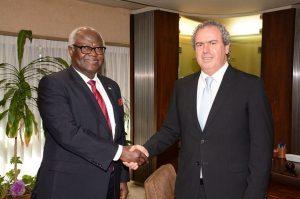 President Koroma being welcomed by President of IDE Yoram Dvash