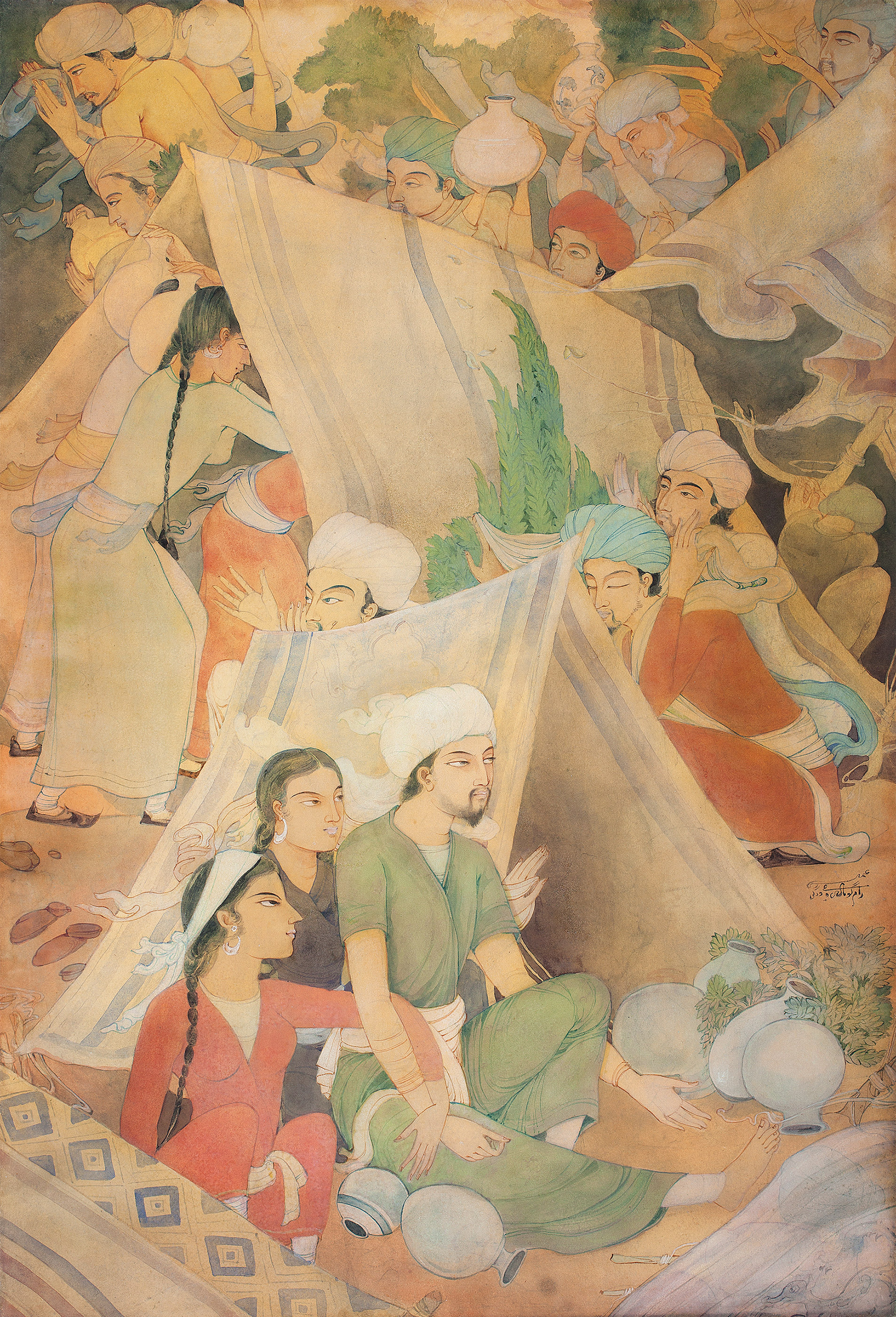 Lot 39 - Ramgopal VijaivargiyaGÇÖs painting, with a pre-sale estimate of INR 15 GÇô 20 lakhs (USD 22,730 GÇô 30,305), sold at INR 32.4 lakhs (USD 49,091)