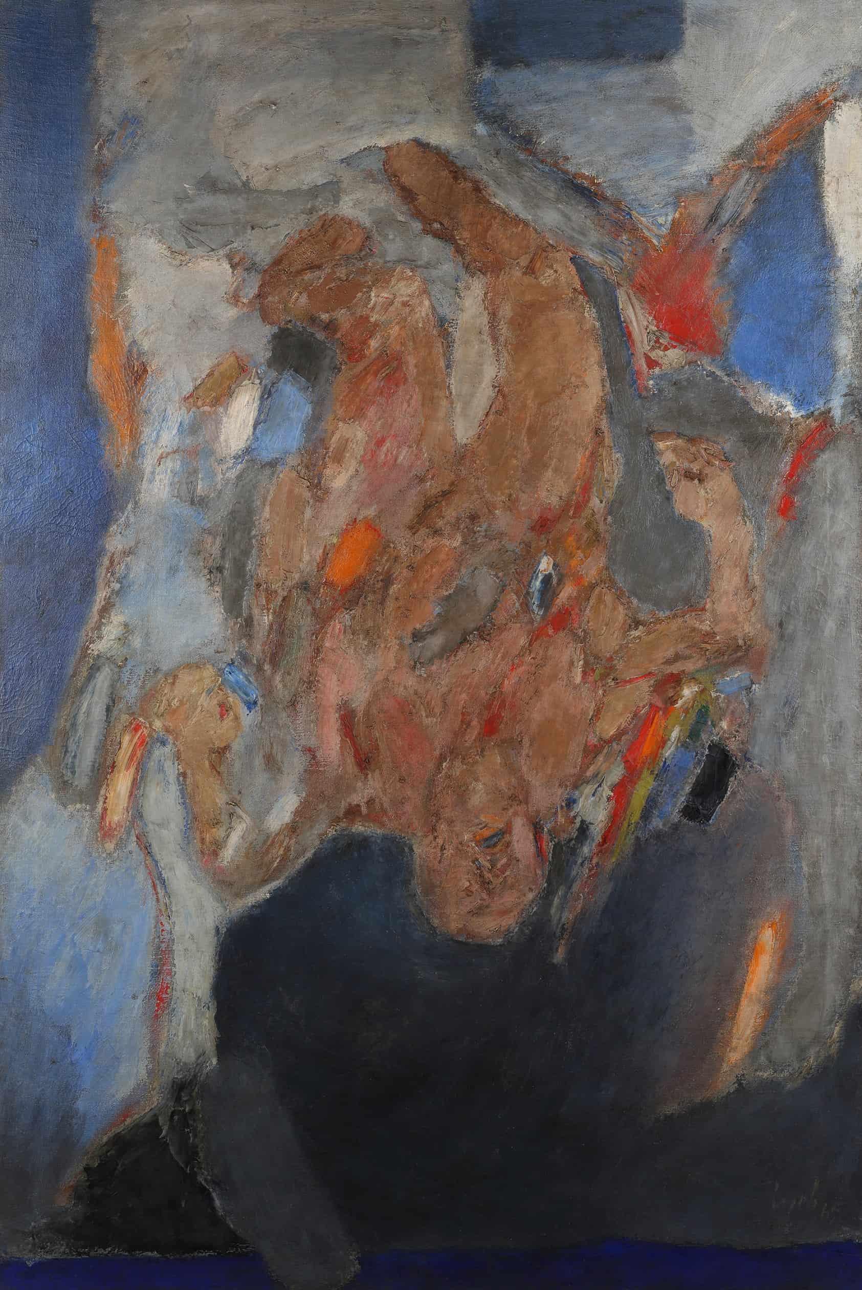 Lot 46 GÇô Tyeb MehtaGÇÖs Falling Figure, painted in 1965, led SaffronartGÇÖs Evening Sale at INR 6 crores (USD 909,091)