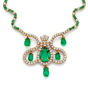 Lot 15 - The Empress of Spain Emerald and Diamond Necklace