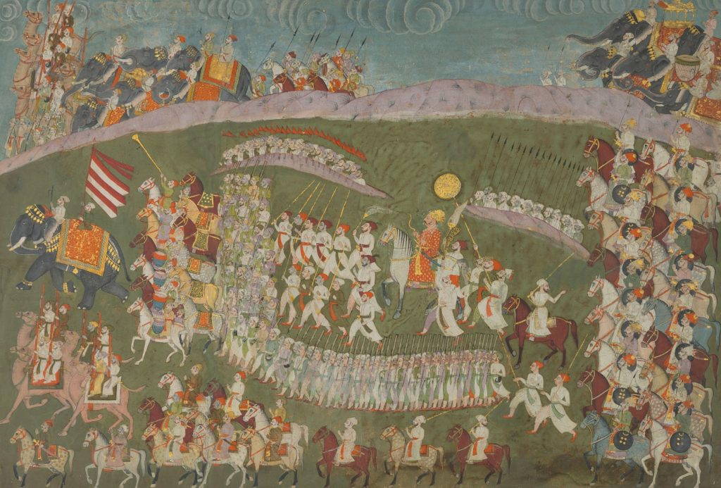 Lot 29 - MAHARAJA BAKHAT SINGH OF NAGAUR PROCEEDING FOR BATTLE, NAGAUR, CIRCA 1750, Estimate - Rs 50,00,000 - 70,00,000 ($74,630 - 104,480)
