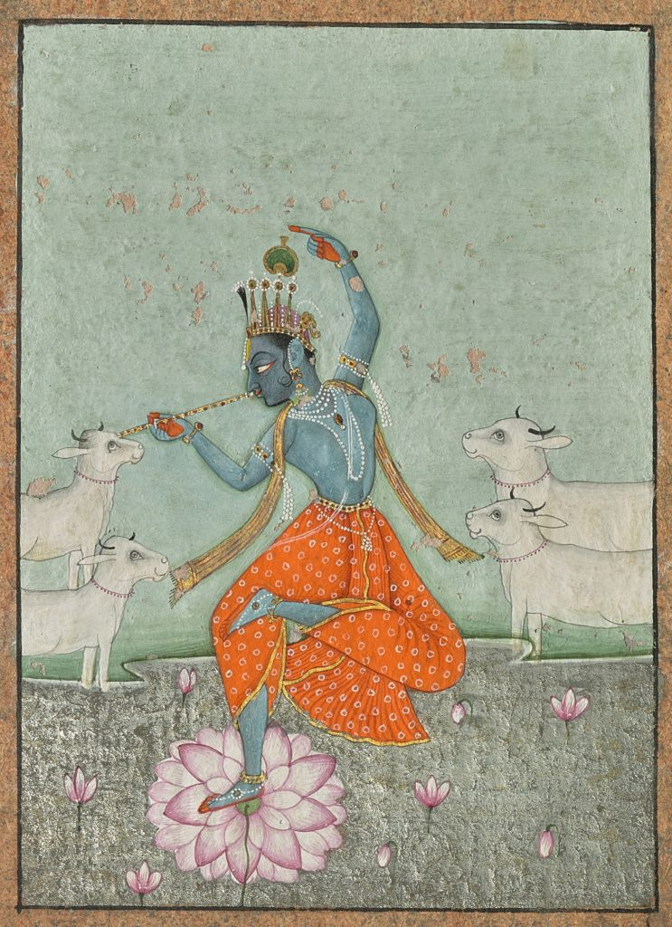 Lot 1 -DANCING KRISHNA WITH COWS, BY AHMED KASAM, BIKANER, Estimate - Rs 3,00,000 - 5,00,000 ($4,480 - 7,465)