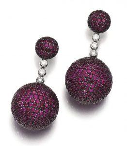 Lot 134 -- Pair of Ruby and Diamond Ear Clips, 'Boule', de Grisogono