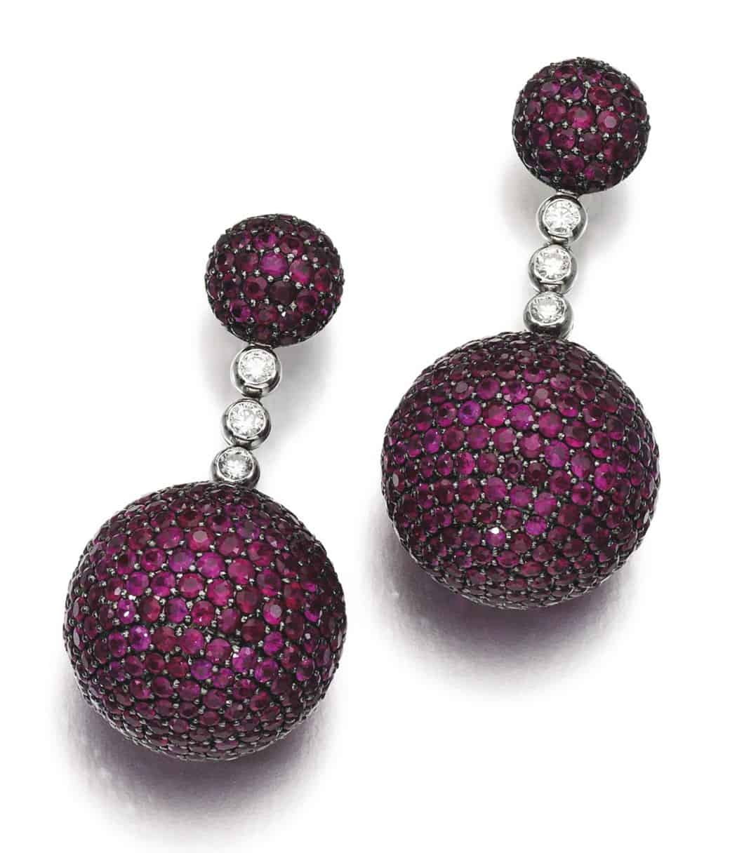 Lot 134 -- Pair of Ruby and Diamond Ear Clips, 'Boule', de Grisogono