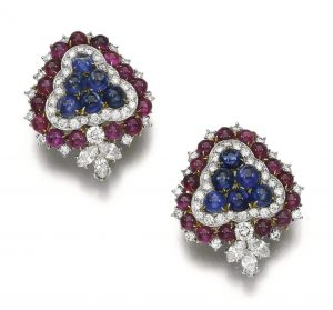 Lot 98 - Pair of Gem-Set and Diamond Ear Clips, Bulgari, 1960s