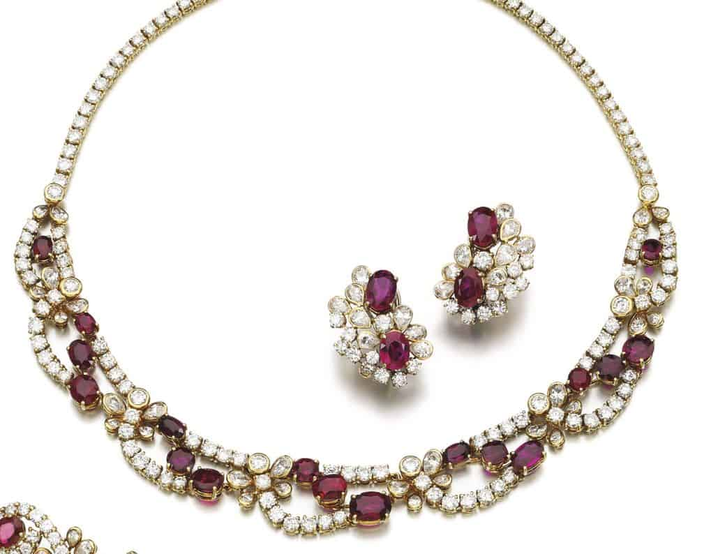 Lot 217 - Necklace and Ear-clips of Ruby and Diamond Parure by Faraone