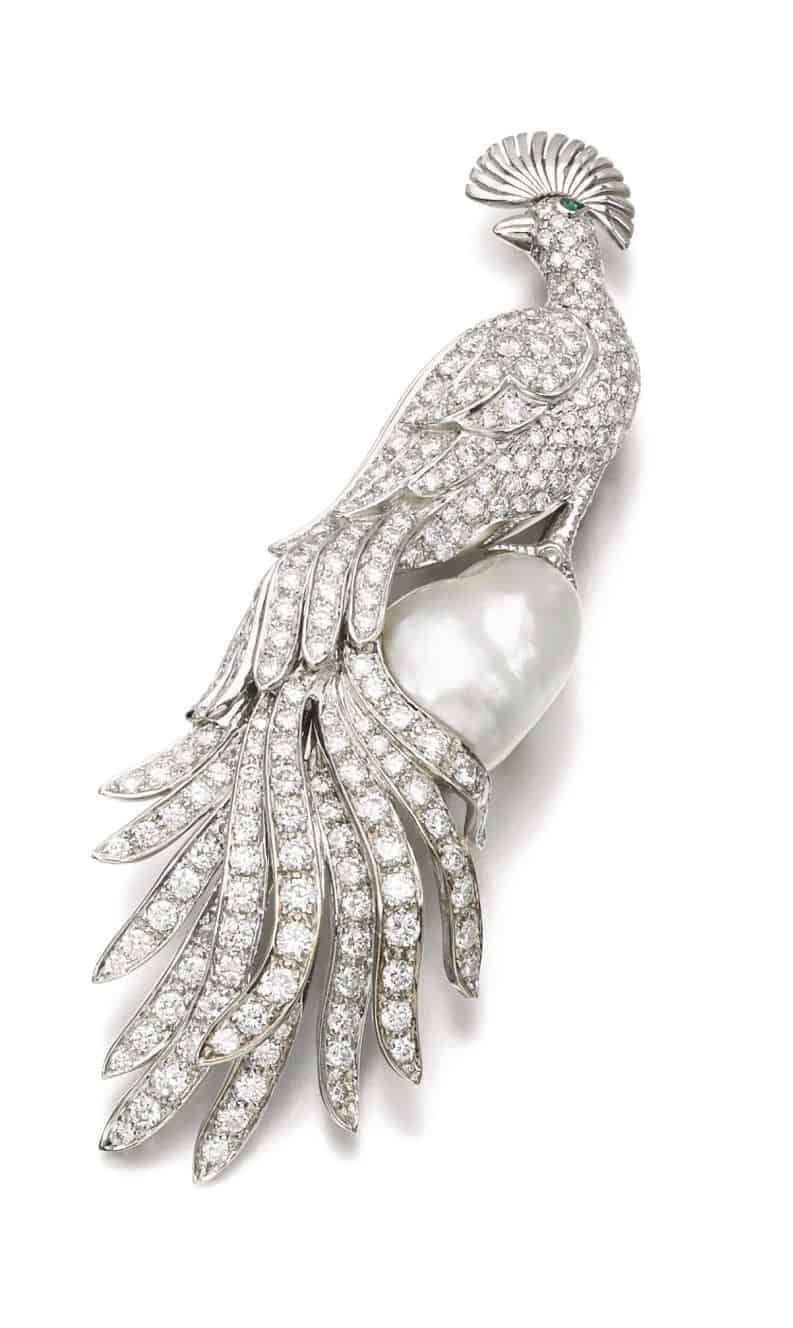 Lot 122 - Cultured Pearl and Diamond Brooch
