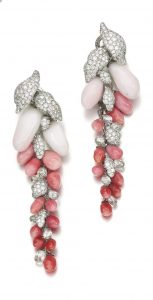 Lot 167 - Pair of Conch Pearl and Diamond Earrings of the Demi-Parure