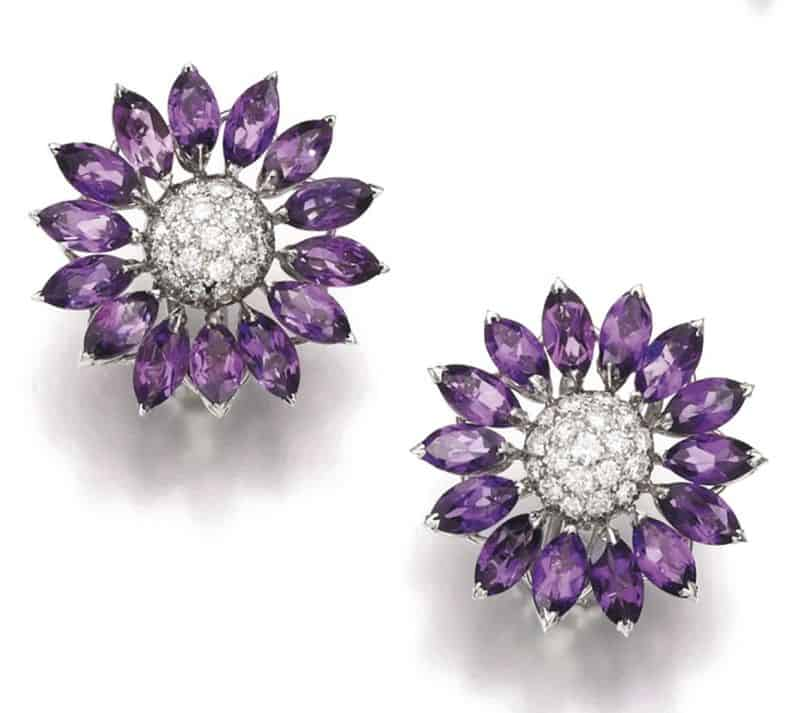 Lot 125 - Pair of Ear-Clips of Amethyst and Diamond Demi-Parure, Asprey