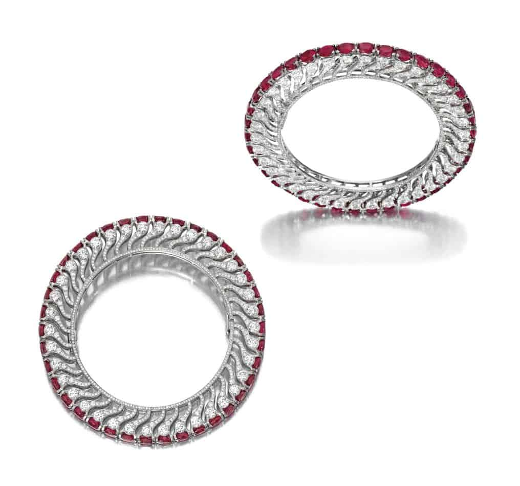 Lot 1707 - Unique Pair of Ruby and Diamond Bangles, BHAGAT