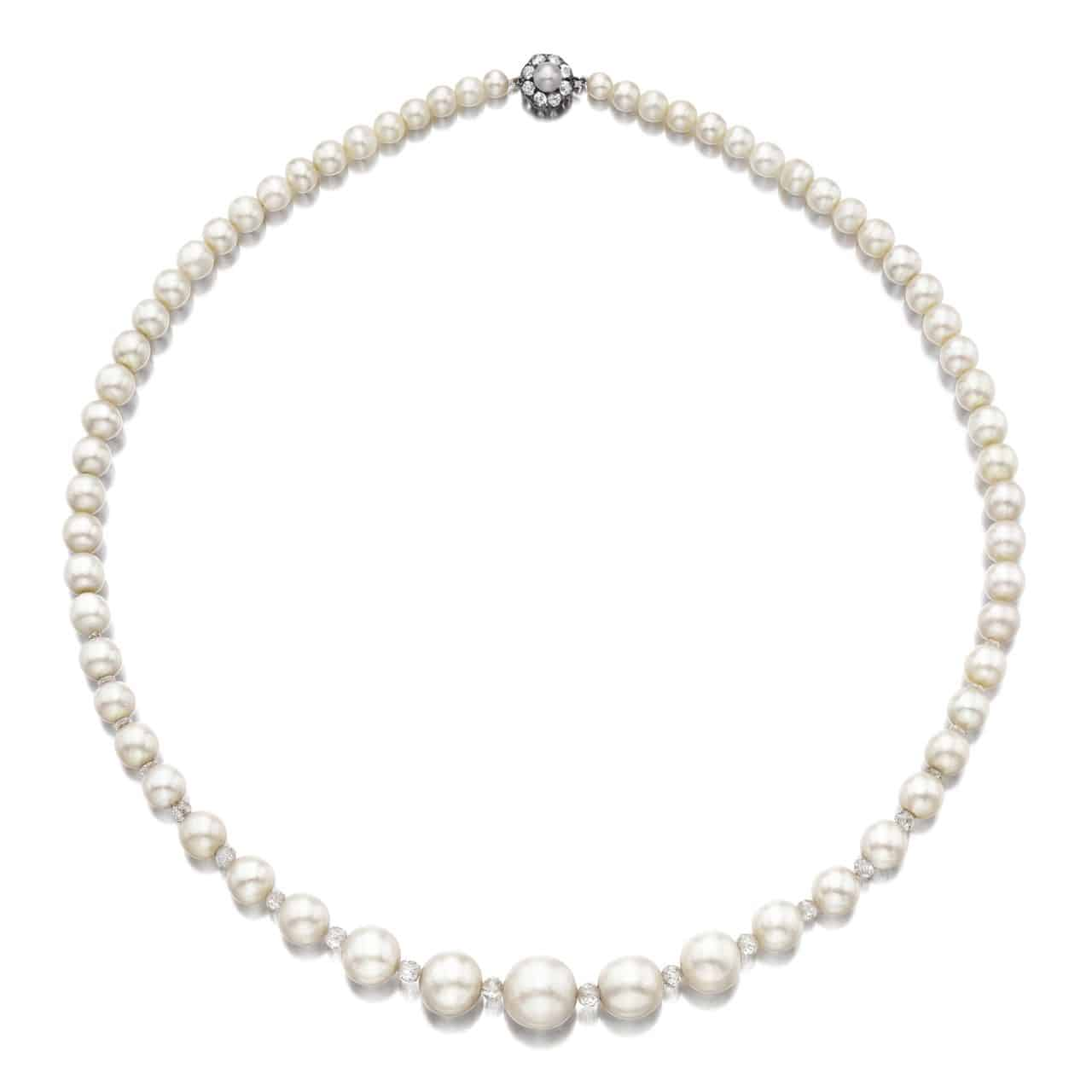 Lot 1796 - Important Natural Pearl and Diamond Necklace