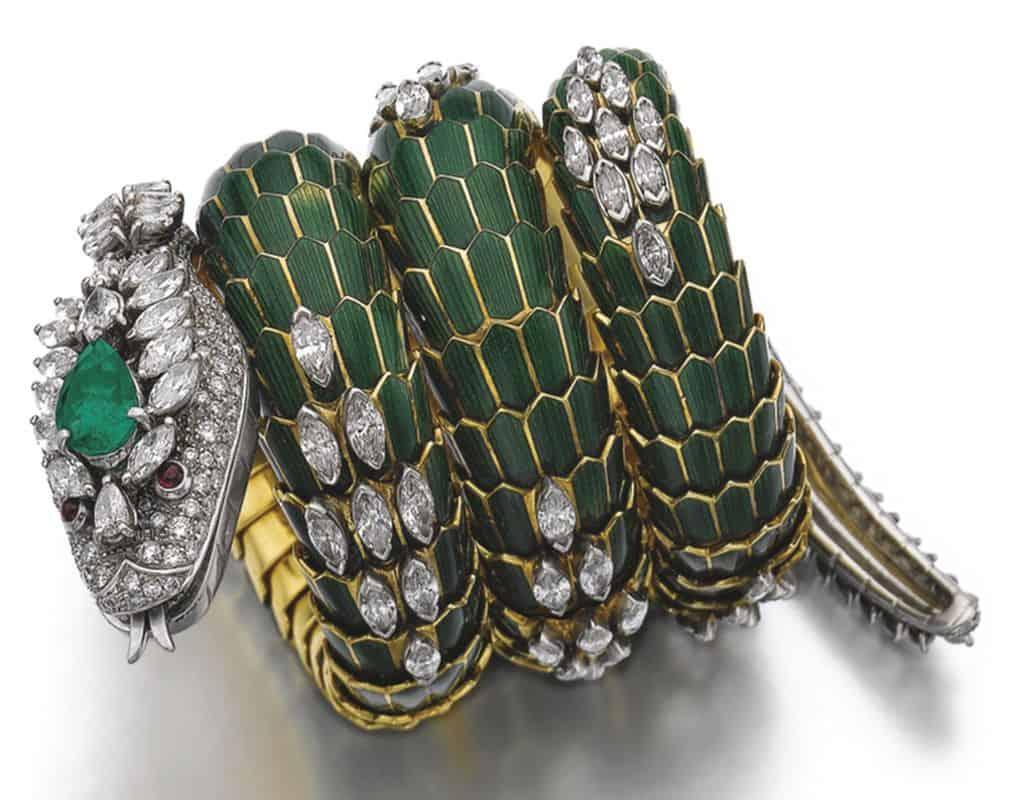 Lot 368 - Emerald, Enamel and Diamond Bracelet-Watch, 'Dragon', Bulgari, 1960s