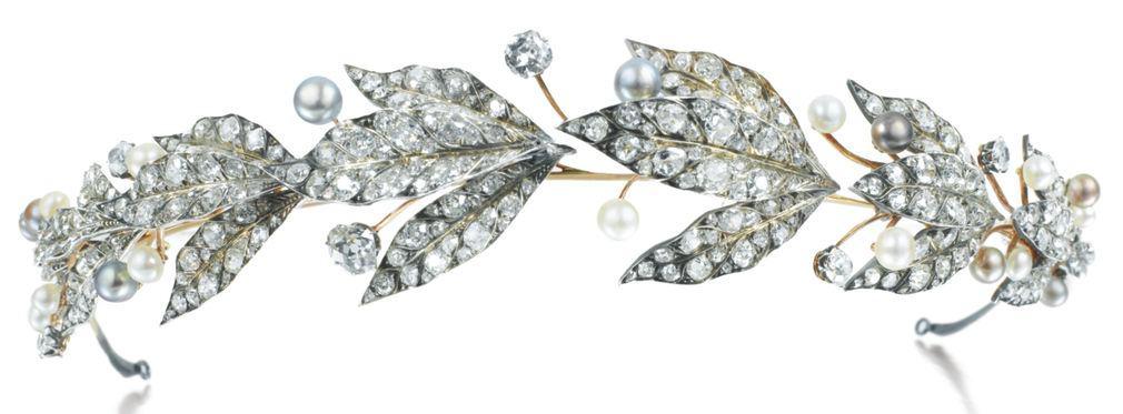 Lot 361 - Natural Pearl and Diamond Tiara, Chaumet