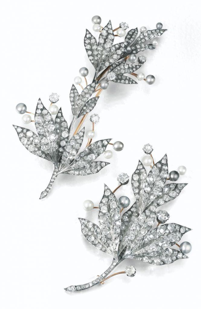 Lot 361 - Natural Pearl and Diamond Devant-de-Corsage Brooches