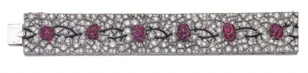 Lot 374- Attractive and Rare Ruby, Onyx and Diamond Bracelet, Lacloche, circa 1925