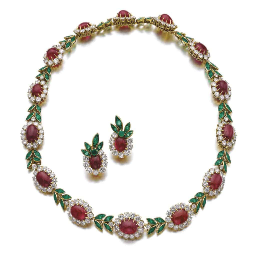 Lot 244 - Ruby, emerald and diamond demi-parure, Van Cleef & Arpels, 1960s