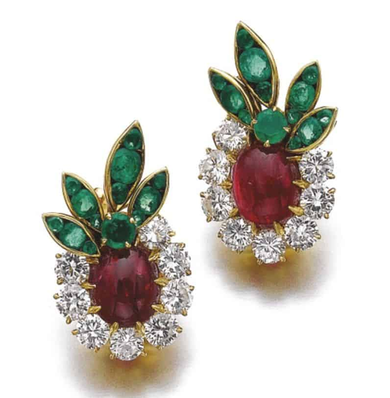 Lot 244 - Matching Pair of Ruby, Emerald and Diamond Ear-clips