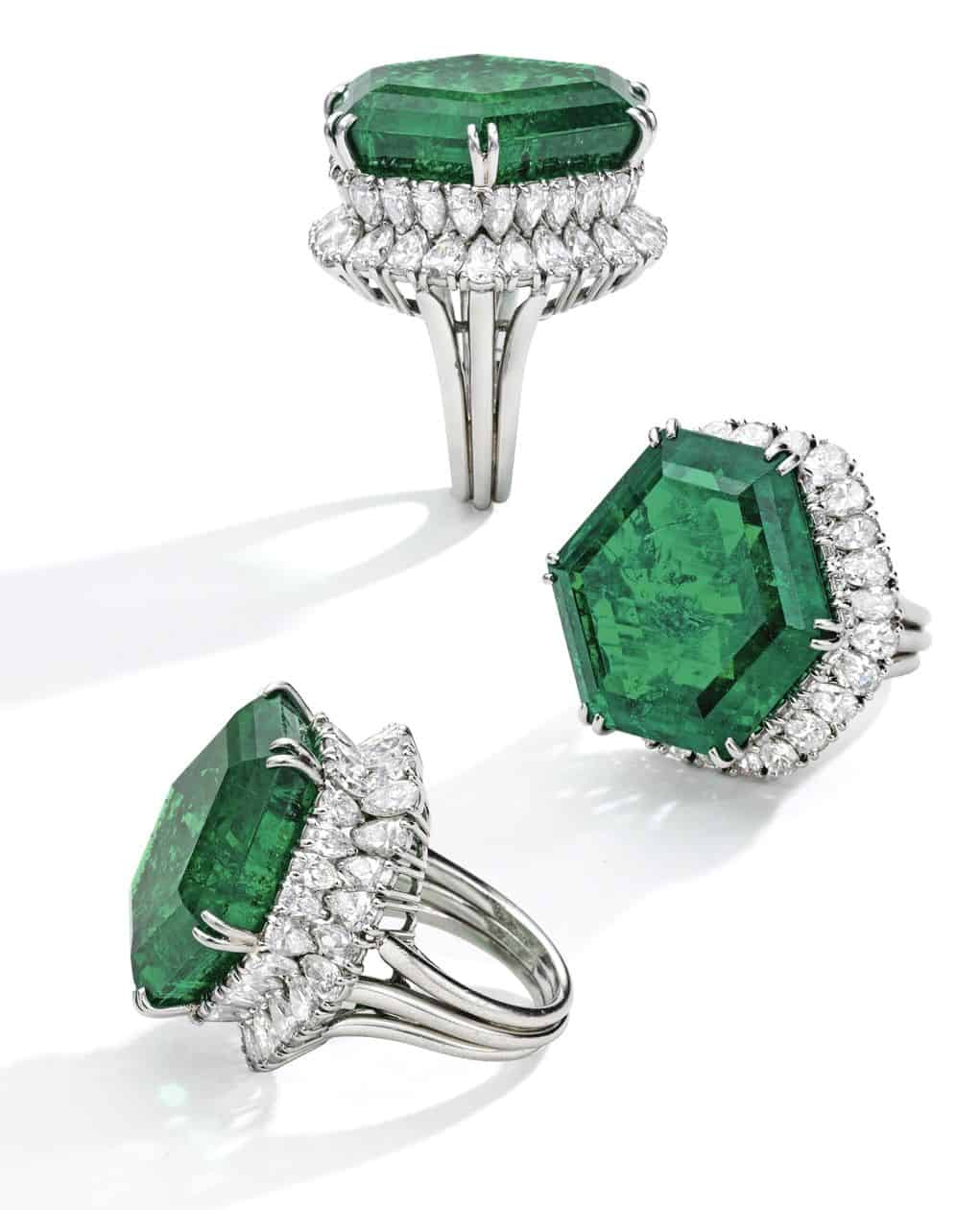 Lot 108 - Different views of the Stotesbury Emerald Ring by Harry Winston