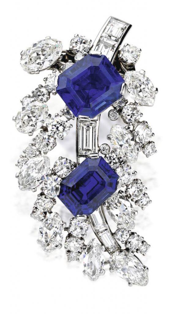 Lot 105 - Platinum, Sapphire and Diamond Brooch, Cartier, Paris