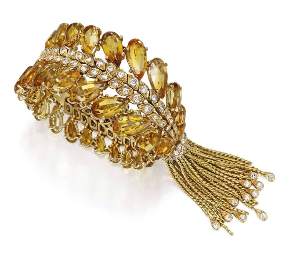 LOT 107 - 18K GOLD, CITRINE AND DIAMOND BRACELET, STERLE, PARIS