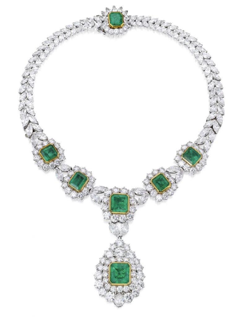 Lot 94 - Platinum, 18 Karat Gold, Emerald and Diamond Necklace, Greenleaf & Crosby