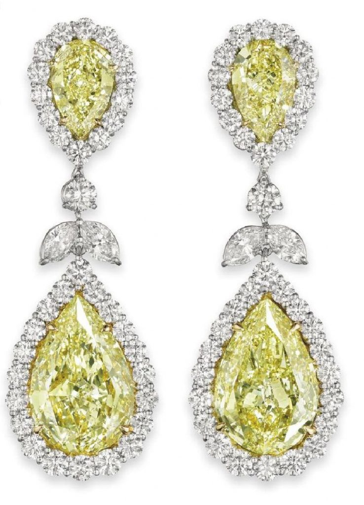 LOT 114 - AN IMPRESSIVE PAIR OF COLORED DIAMOND AND DIAMOND EAR PENDANTS, BY BULGARI