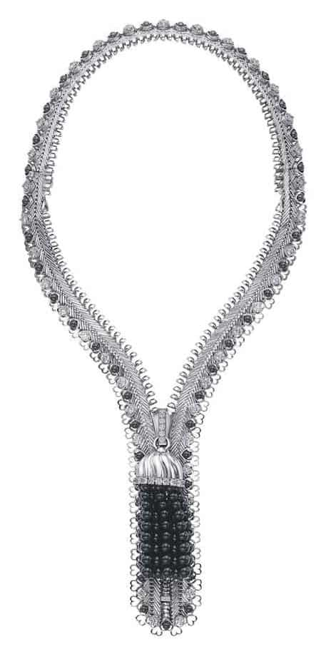 LOT 81 - A UNIQUE DIAMOND AND ONYX 'ZIP' NECKLACE, BY VAN CLEEF & ARPELS