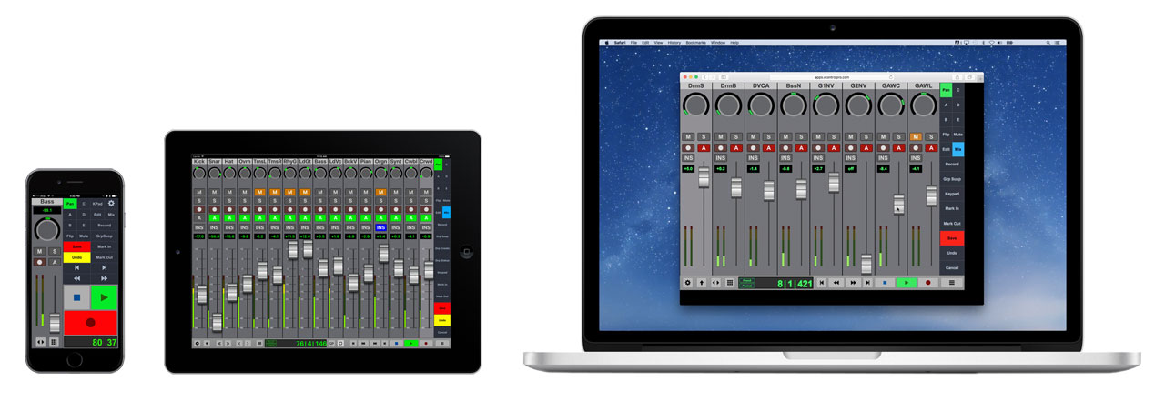 V-Console DAW Controller Runs On Phones, Tablets, and Browsers