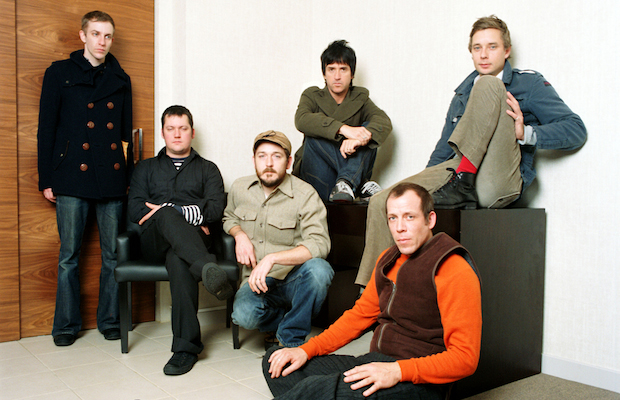 Portrait of Modest Mouse (Isaac Brock, Eric Judy, Jeremiah Green, Johnny Marr, Tom Peloso and Joe Plummer) photographed at K West Hotel in London in November 2006.;