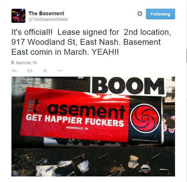 The Basement East Tweet