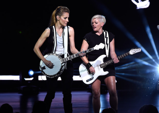 CINCINNATI, OH - JUNE 01: Emily Strayer and Natalie Maines of the Dixie Chicks perform onstage during the DCX World Tour MMXVI Opener on June 1, 2016 in Cincinnati, Ohio.  (Photo by Kevin Mazur/Getty Images for PMK)