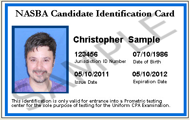 NASBA Candidate Identification Card [00_CAND_ID_CARD] - $25.00 ...