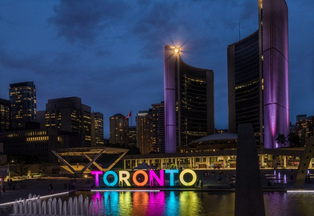 Canada for Kids: Toronto city hall at night