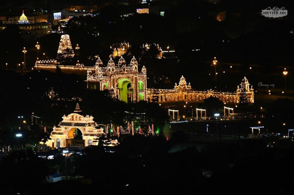 India for kids: Mysore Palace lit up during the Dasara festival