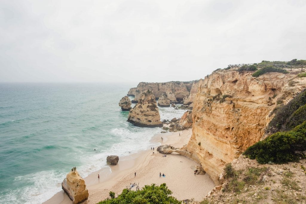 Portugal with kids: Praia da Marinha Best place in algarve for families.