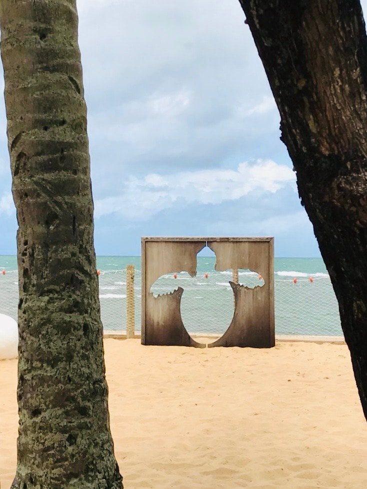 Brazil for Kids: Turtle art installation on the beach at Projeto Tamar