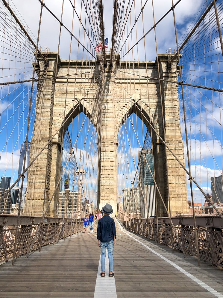 Things to do in NYC with Kids: Walking over the Brooklyn Bridge