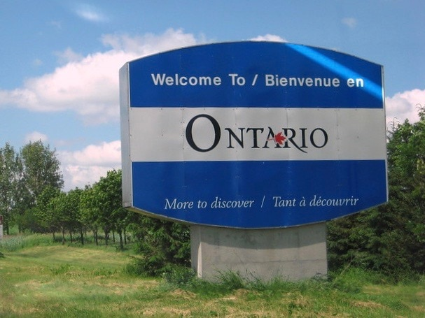 Canada for Kids: Welcome to Ontario bilingual sign