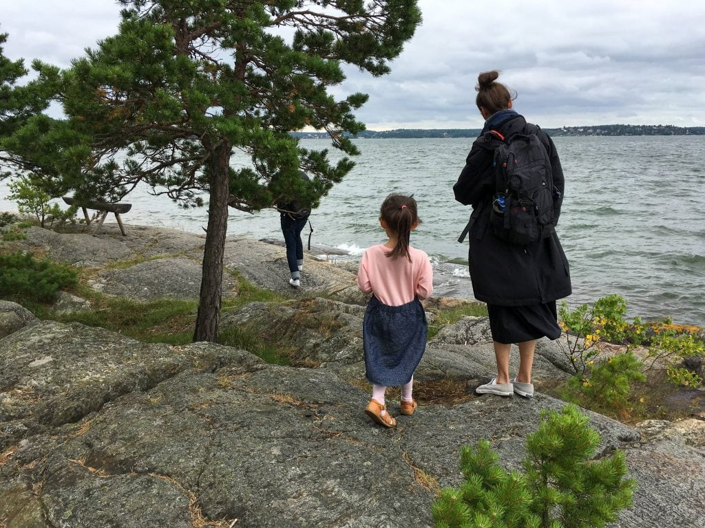 Things to do in Stockholm with kids: mom and daughter outside Artipelag