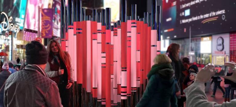 時代廣場的情人節心形裝置又回來了!致敬移民,不只關乎浪漫
