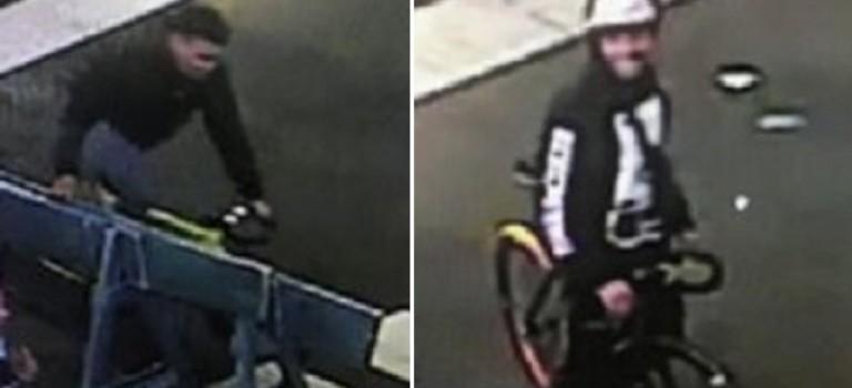 【注意啦!】两男子骑自行车抢中城行人手机!