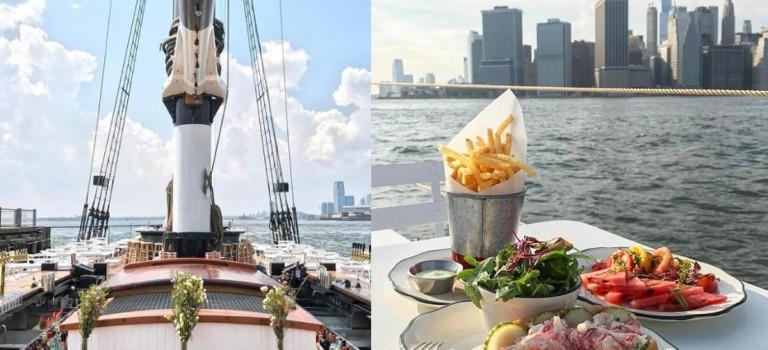 布魯克林百年艦船上開海鮮餐廳啦!無敵曼哈頓景致,太愜意~