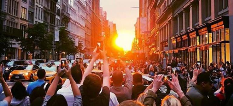 今年最后一次的曼哈顿悬日奇观,周四不见不散!