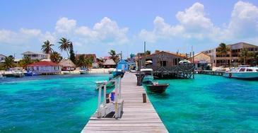 Belize pier, boats and buildings