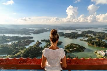 Colombia balcony view over Guatape